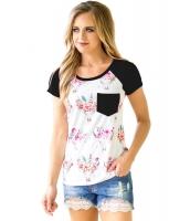 ブラック 半袖 ポケット 花柄 シャツ lc250271-2