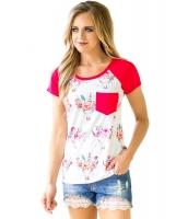 ローズ 半袖 ポケット 花柄 シャツ lc250271-6