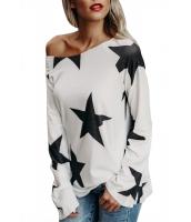 ホワイト 長袖 輝く星 Tシャツ cc250582-1