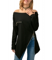 ブラック ジップ飾り 非対称裾 ブラウス cc250730-2