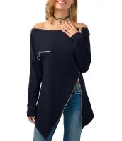 ブルー ジップ飾り 非対称裾 ブラウス cc250730-5