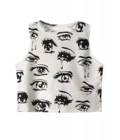 目と涙 タイト クロップド トップス  カットソー ノースリーブ 袖なし ロゴ TシャツCC25567
