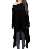 ブラック 非対称 裾周り 長袖 大きいサイズ セーター cc25975-2