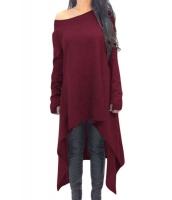 ブルゴーニュ 非対称 裾周り 長袖 大きいサイズ セーター cc25975-3