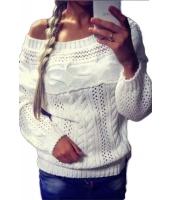ホワイト シック ボートネック 長袖 がっしり セーター cc27605-1