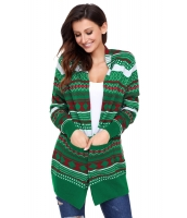 グリーン ホワイト レッド 幾何模様 ニット クリスマス カーディガン cc27805-9