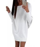 ホワイト スタイリッシュ 長袖 バギー セーター ドレス cc27816-1