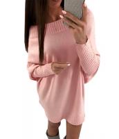 ピンク スタイリッシュ 長袖 バギー セーター ドレス cc27816-10