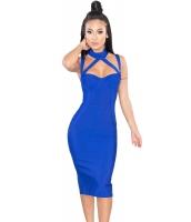 ロイヤル ブルー ハイ ネック ホローアウト ボンテージ ドレス cc28411-5