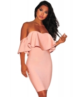 ピンク ピンク フリル オフショルダー バンデージ ドレス cc28471-10