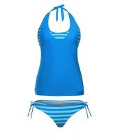 レイヤー タンキニ水着 ブルー ストライプ 2点セット 水着 lc410147-4