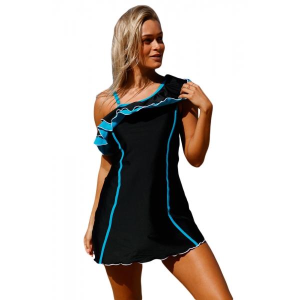 ブラック ブルー フリル スイーム ドレス ショーツ lc410210-2
