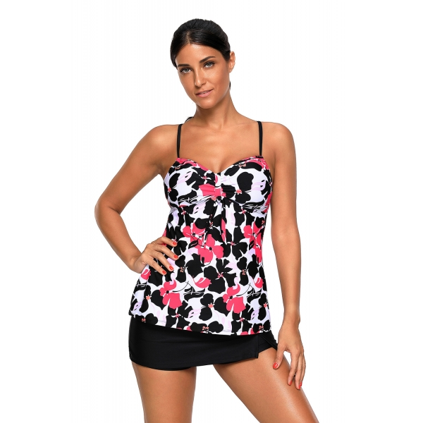 レッド ブラック 花柄 キャミソール タンキニ & スカート水着 cc410465