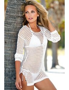 ホワイト セクシー 手作り 編み物 ビーチカバー  パレオ ラッシュガード ビーチカバー 水着 レジャーCC41109-1