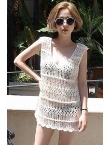 ホワイト 編み物 袖なし ビーチカバー      CC41117