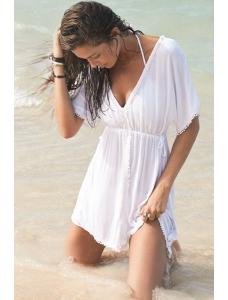 【即納】ホワイト ポンポン トリム カフタン ビーチ ドレス tk-cc41518-f-wh【カラー:ホワイト】【サイズ:フリー】