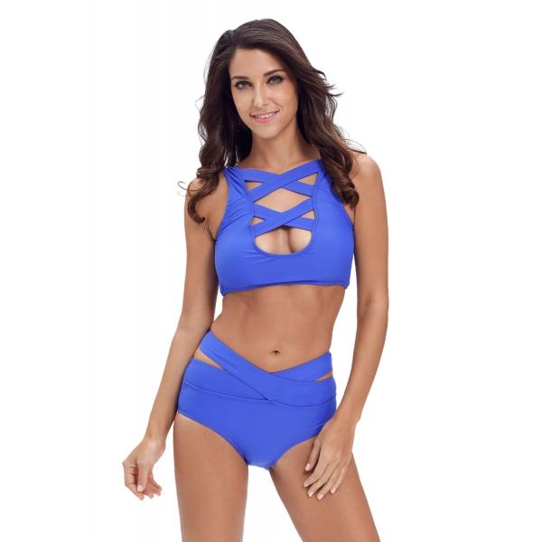 ブラジル 明るい ブルー マルチウェイ ストラップ ハイウエスト ビキニ cc41988-4