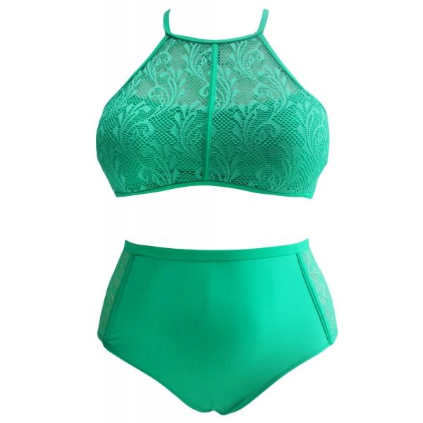 グリーン 柄 メッシュ入り 大きいサイズ 水着 cc41991-9
