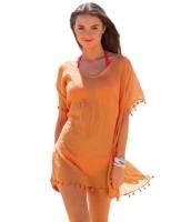 オレンジ ポンポン タッセル 裾周り ガーゼ カバーアップ cc42162-14