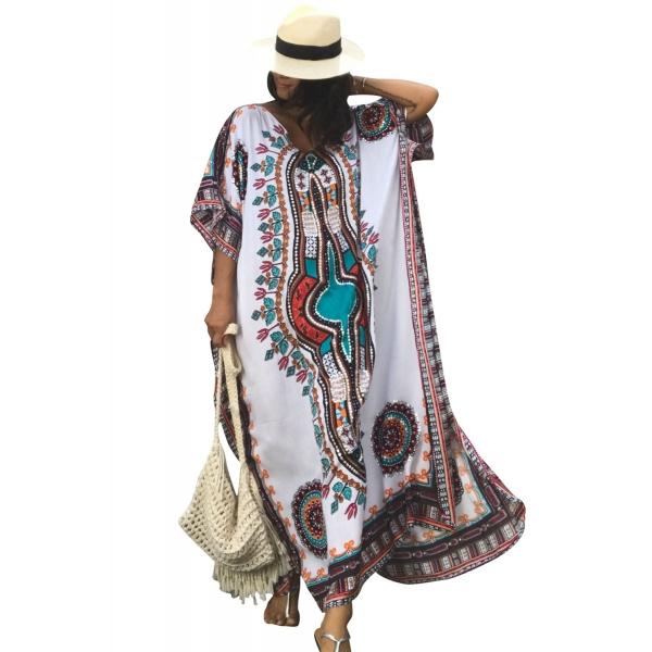 ホワイト エスニック プリント カフタン マキシ ドレス lc42217-22