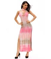 ピンク タイ プリント セクシー カットアウト マキシ ドレス cc60954-10