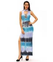 青みがかった タイ プリント セクシー カットアウト マキシ ドレス cc60954-4