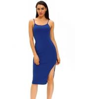 ブルー サイド スリット ミディ ドレス cc61039-5