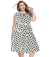 【即納】ホワイト 大きいサイズ ドット・水玉 ボヘミアン プリント ドレス キーホール  tk-cc61043-1-3xl-whb
