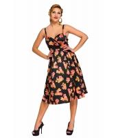ブラック ピンアップ デジタル 花柄 スイング ビンテージ ドレス cc61063-2