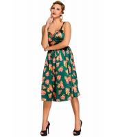 グリーン ピンアップ デジタル 花柄 スイング ビンテージ ドレス cc61063-9
