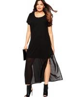 ブラック シフォン オーバーレイ ビッグ ガール マキシ ドレス cc61106-2