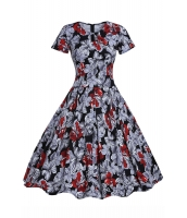 1950 スタイル レッド モノクロ 花柄 半袖 スイング ドレス cc61112-2