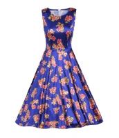 ブルー デジタル 花柄 ビンテージ スイング ドレス cc61114-5