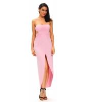 ピンク ドレープ ホローアウト マキシ ドレス cc61170-10