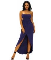 ネイビー ブルー ドレープ ホローアウト マキシ ドレス cc61170-4