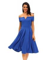 無地 ブルー 厚手 フレア ミディ ビンテージ ドレス cc61228-5