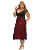エレガントレース 飾り レッド 大きいサイズ ドレス cc61268-3