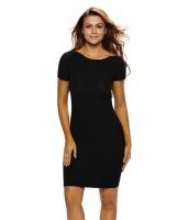 ブラック ジッパー ネックライン ボディコン ミディ ドレス cc61270-2