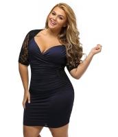 ブラック ブルー シャーリング レース イリュージョン 大きいサイズ ドレス cc61318-5
