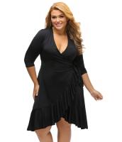 ブラック 気紛れ ラップ ひだ飾り 大きいサイズ ドレス cc61335-2