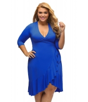 ブルー 気紛れ ラップ ひだ飾り 大きいサイズ ドレス cc61335-4