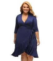 ネイビー ブルー 気紛れ ラップ ひだ飾り 大きいサイズ ドレス cc61335-5