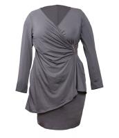 グレー 非対称 ラップ 長袖 ドレス cc61340-11
