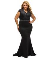 ブラック ラインストーン フロント ボディ スカラップ ネックライン 大きいサイズ ドレス cc61376-2