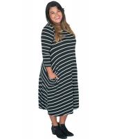 ブラック ホワイト 七分丈袖 ストライプ ルーズフィット 大きいサイズ ドレス cc61390-2p