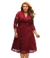 紫 レッド 大きいサイズ サープリス ネック シャーリング ウエスト 花柄 レース スイング ドレス cc61393-3