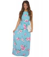 ブルー 花柄 ボヘミアン お祭り マキシ ドレス cc61451-4