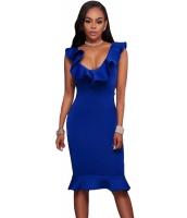 ブルー フリル ネックライン マーメイド裾 ミディドレス cc61466-5