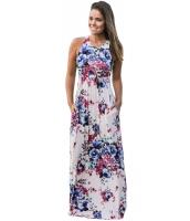 ホワイト 花柄 袖なし ロング ボヘミアン ドレス cc61531-101