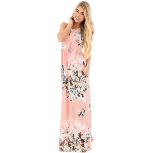 ピンク 花柄 袖なし ロング ボヘミアン ドレス cc61531-1010